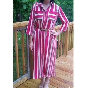 New York & Company Retro Striped Midi Dress